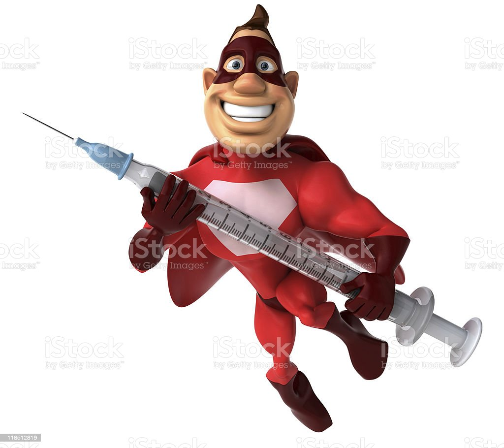 Superhero with a syringe royalty-free stock photo