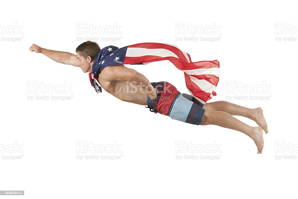 Superhero with cape of American flag royalty-free stock photo