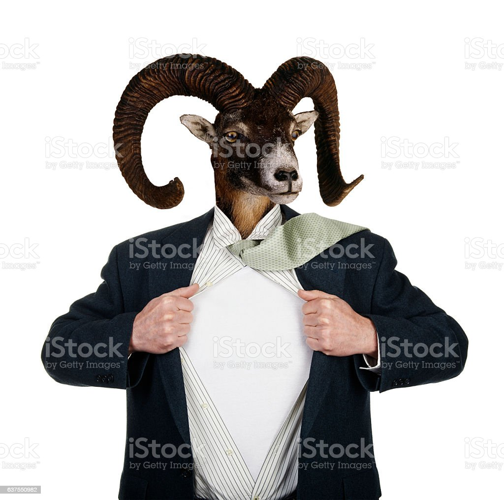 Superhero With Head of a Goat stock photo