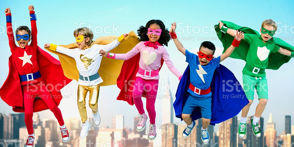 Superheroes Kids Friends Playing Togetherness Fun Concept stock photo