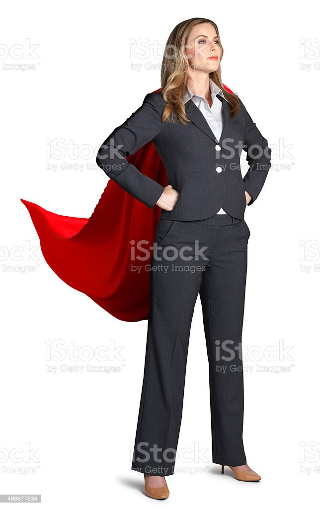 Superhoero Businesswoman Isolated On White Background stock photo