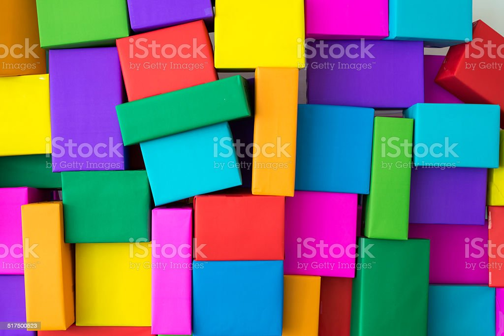 Superimposed of colorful boxes stock photo