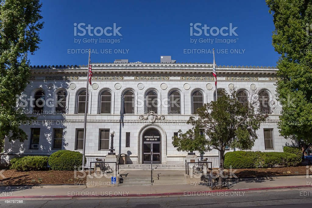 Superior court in the historical center of Placerville stock photo