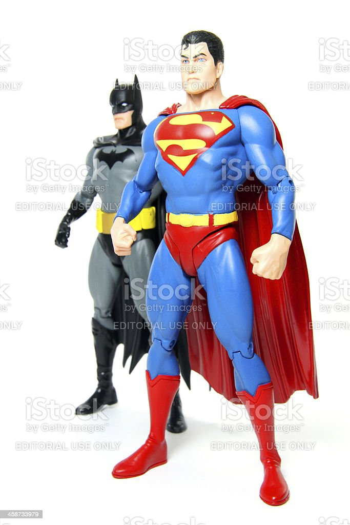 Superman and Batman royalty-free stock photo