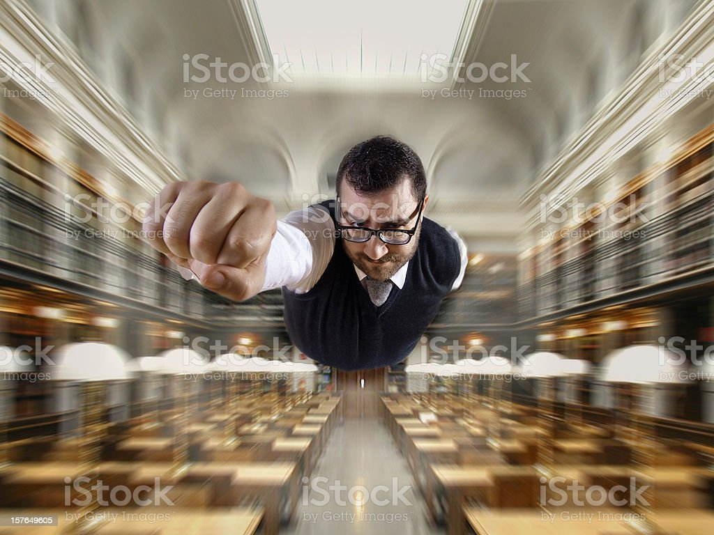 Superman - Nerd at the library flying stock photo