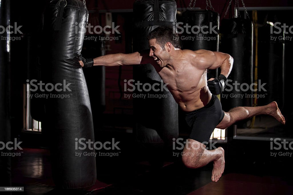 Superman punch at the gym royalty-free stock photo