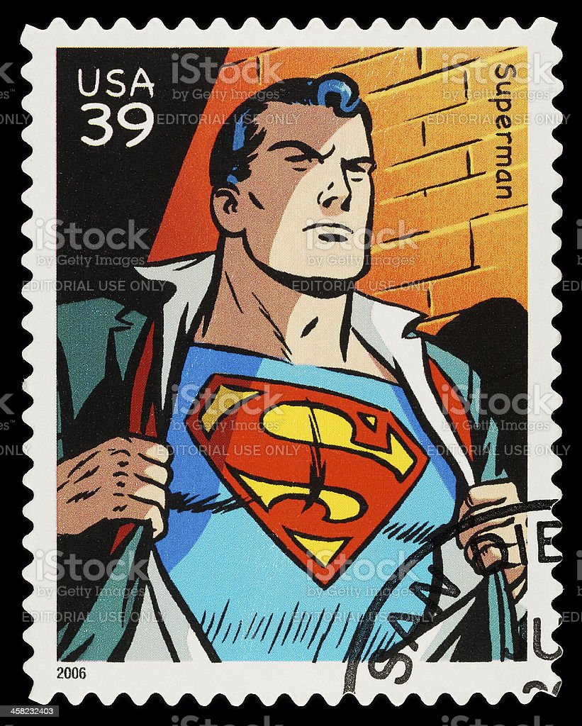 Superman Superhero Postage Stamp stock photo