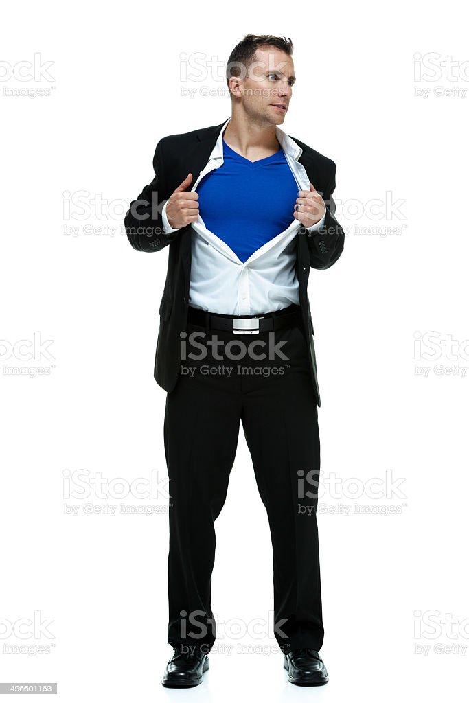 Superman tearing his shirt stock photo