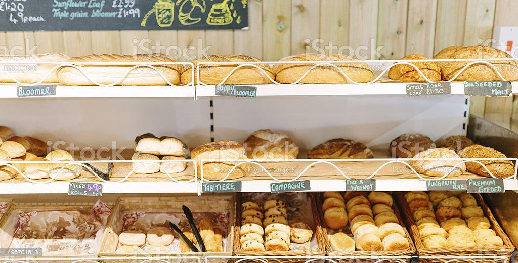 Supermarket, bakery aisle stock photo