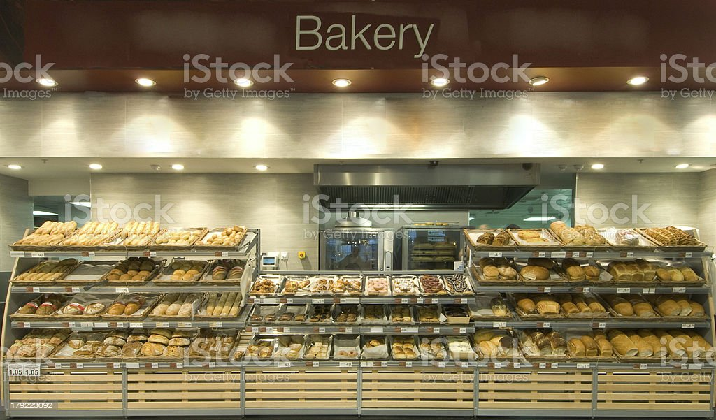 Supermarket Bakery Department with Assortment of cakes  Pasties and Bread stock photo