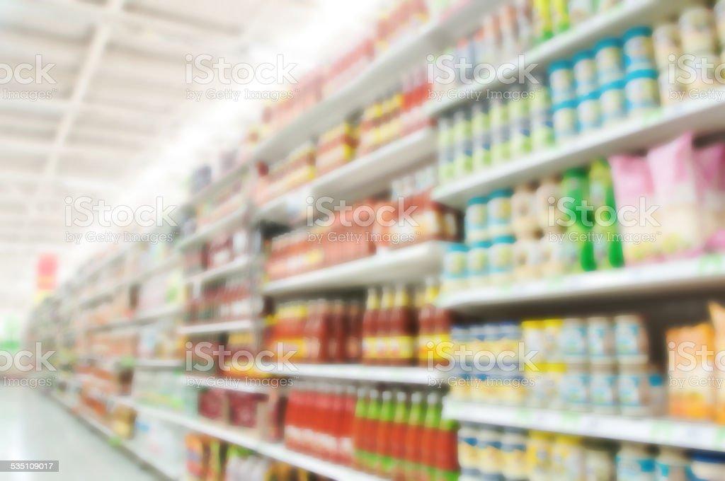 Supermarket blur background stock photo