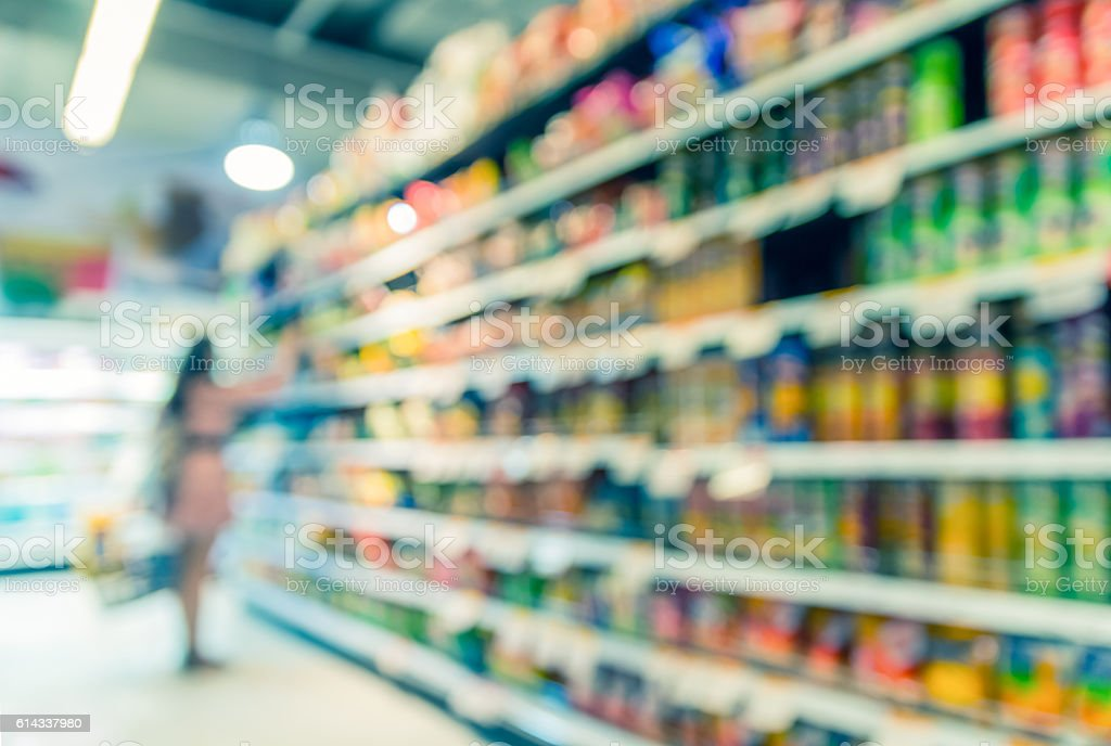 Supermarket blur background with bokeh, Miscellaneous Product shelf stock photo