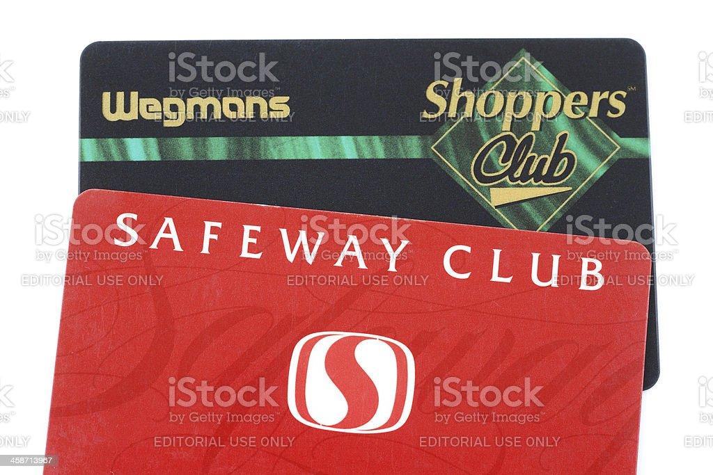 Supermarket bonus club cards stock photo