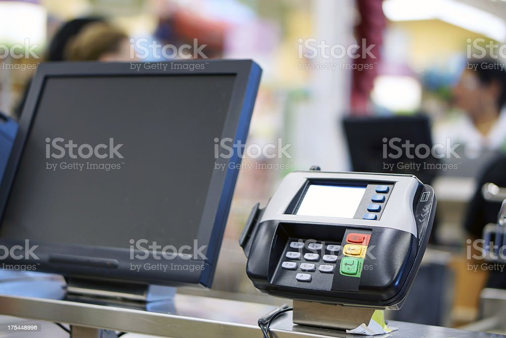 Supermarket checkout stock photo