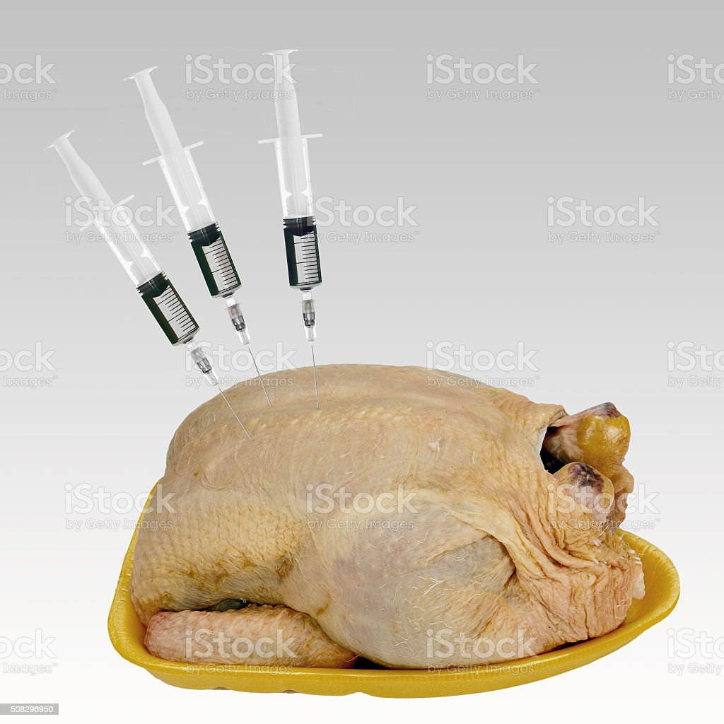 Supermarket chicken with added water, plumpness. stock photo