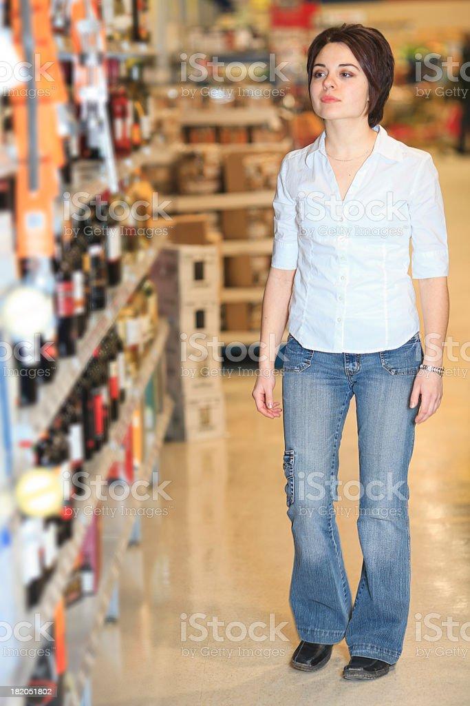 Supermarket Client - Wine Row stock photo