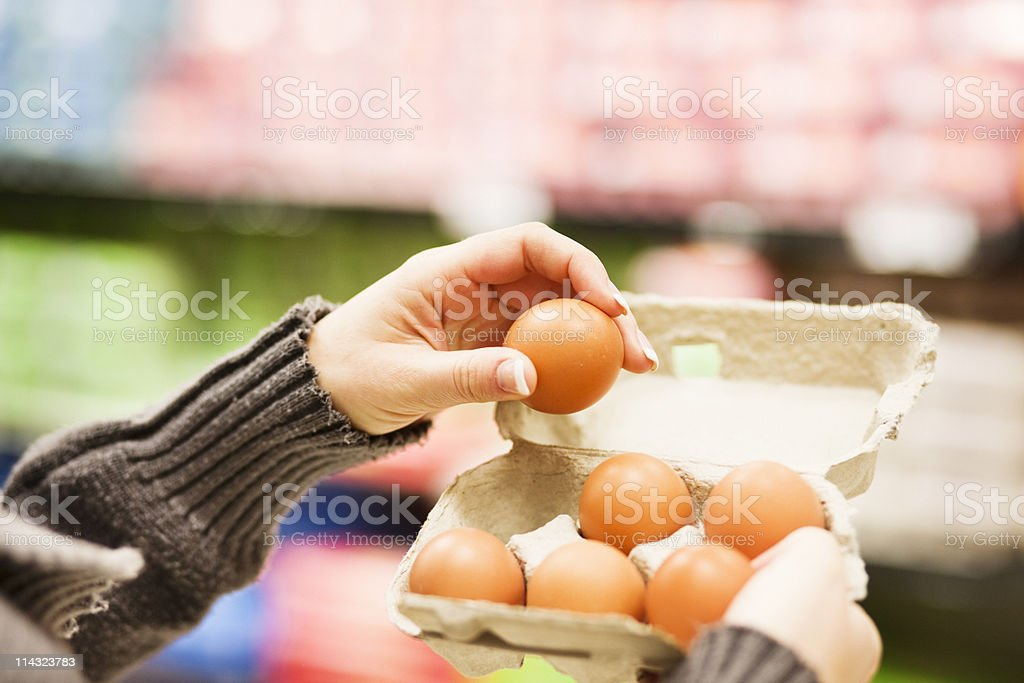 Supermarket egg check stock photo