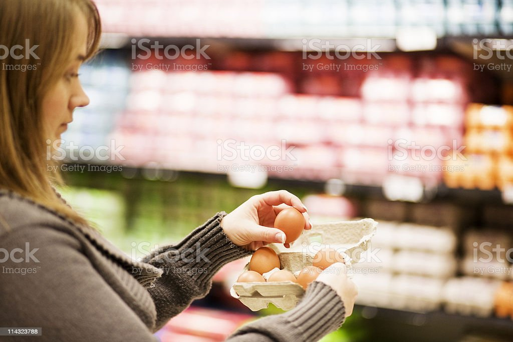 Supermarket egg check royalty-free stock photo