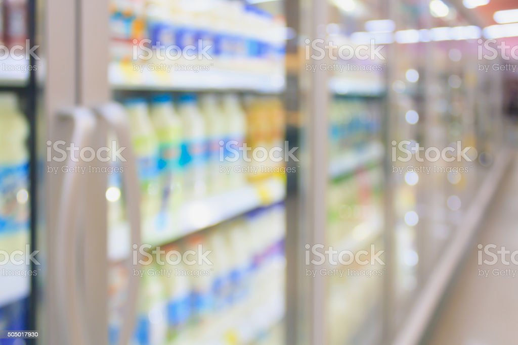 supermarket in blurry for background stock photo