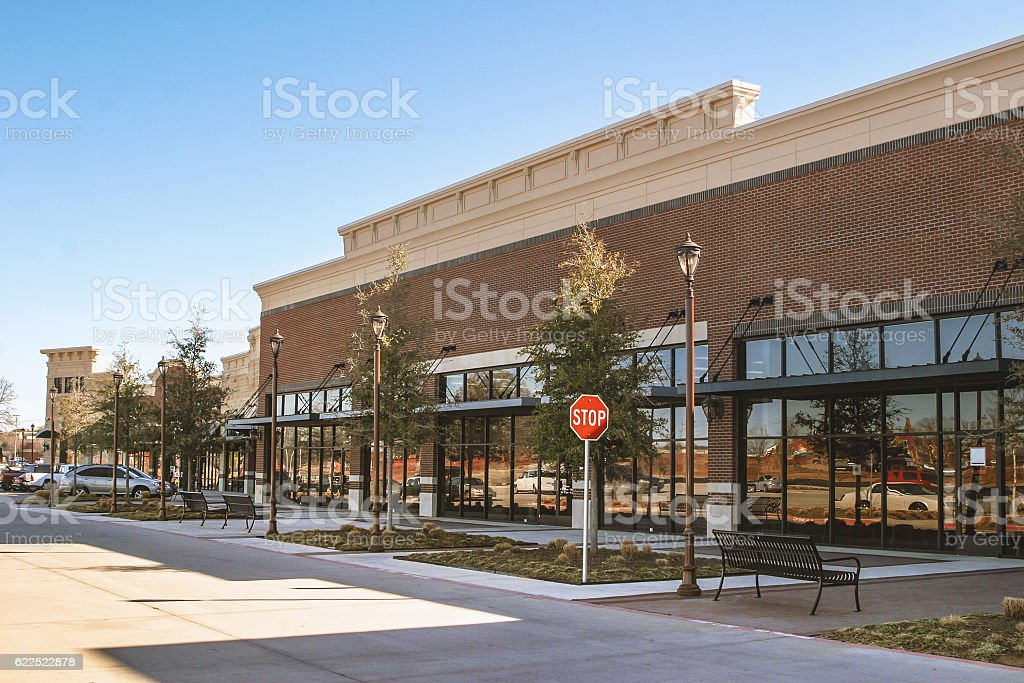 Supermarket in suburban area stock photo