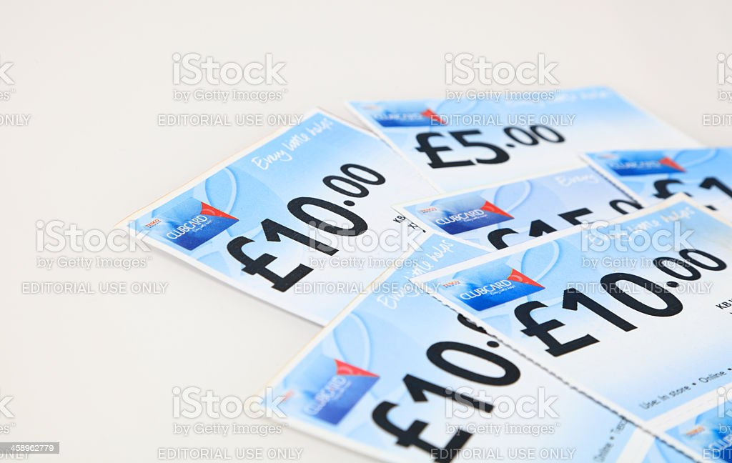 supermarket loyalty cash vouchers for shopping stock photo