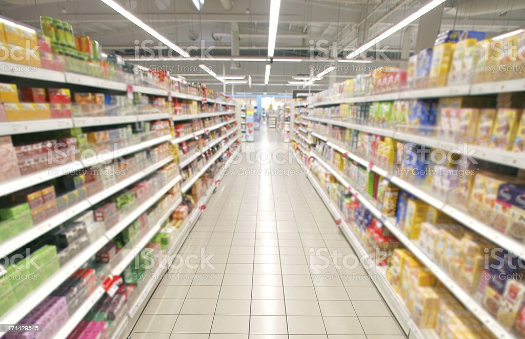 supermarket perspective stock photo