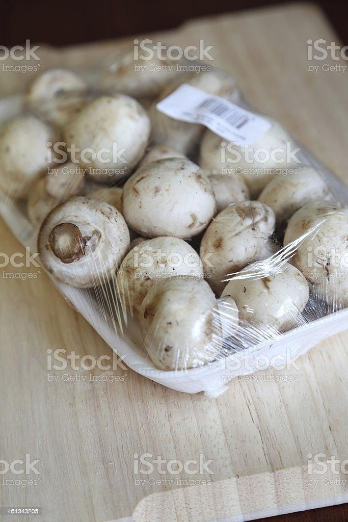 Supermarket Punnet of Mushrooms royalty-free stock photo