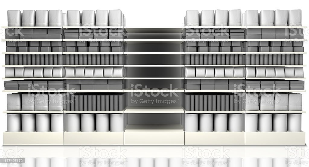 Supermarket Shelving With Generic Products stock photo