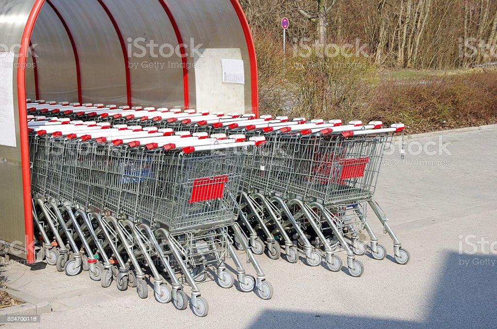 Supermarket shopping cart trolleys royalty-free stock photo
