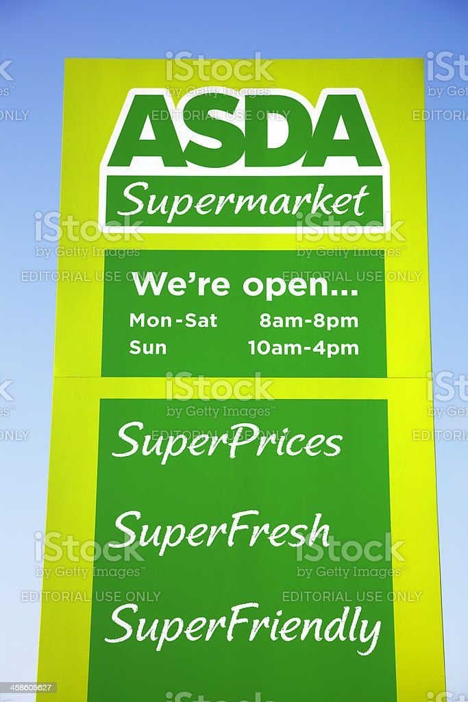 ASDA Supermarket sign, logo and slogan stock photo