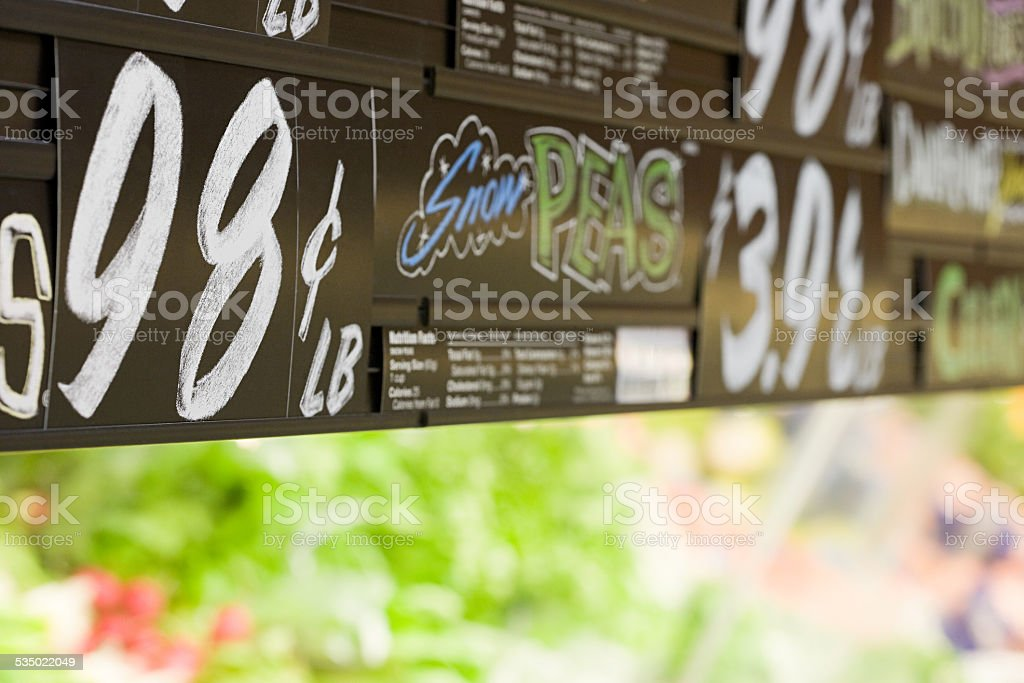 Supermarket sign stock photo