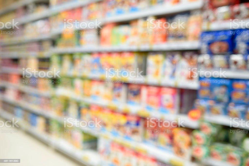 Supermarket store. Blur background stock photo