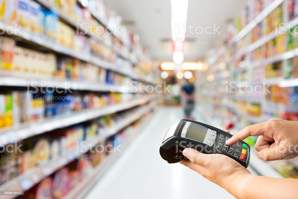 Supermarket store blur background with bokeh stock photo