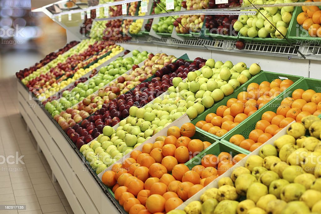 Supermarket-Fruits stock photo