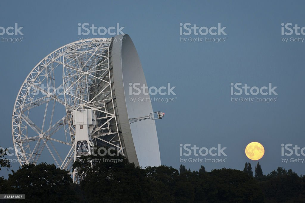 Supermoon and Lovell Radio Telescope, Jodrell Bank Observatory stock photo