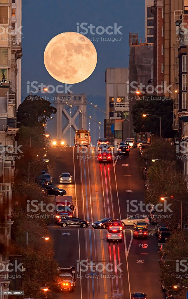 Supermoon at California Street Composition, San Francisco stock photo