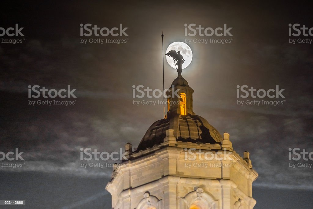 Supermoon behind the cathedral of Girona, Catalonia, Spain stock photo
