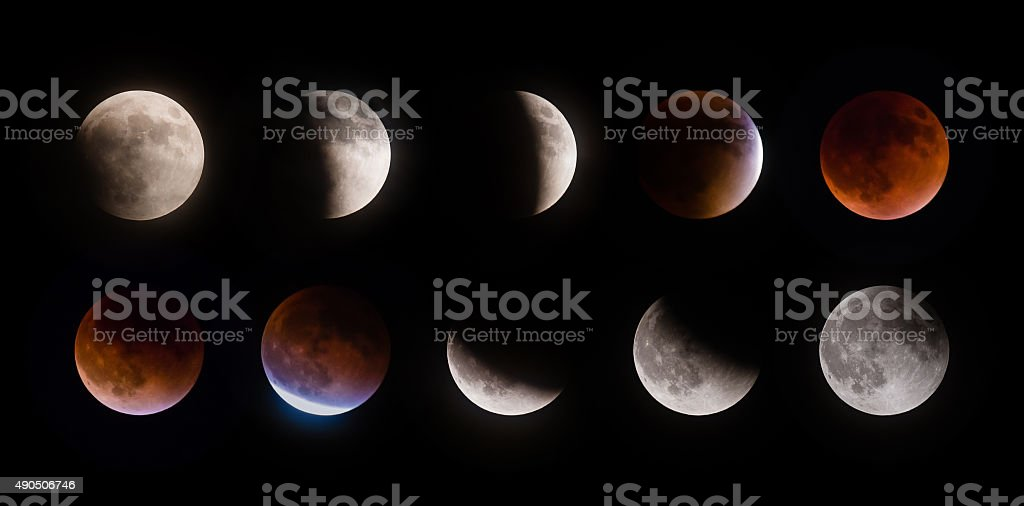 Supermoon lunar eclipse phases on September 27 2015 stock photo
