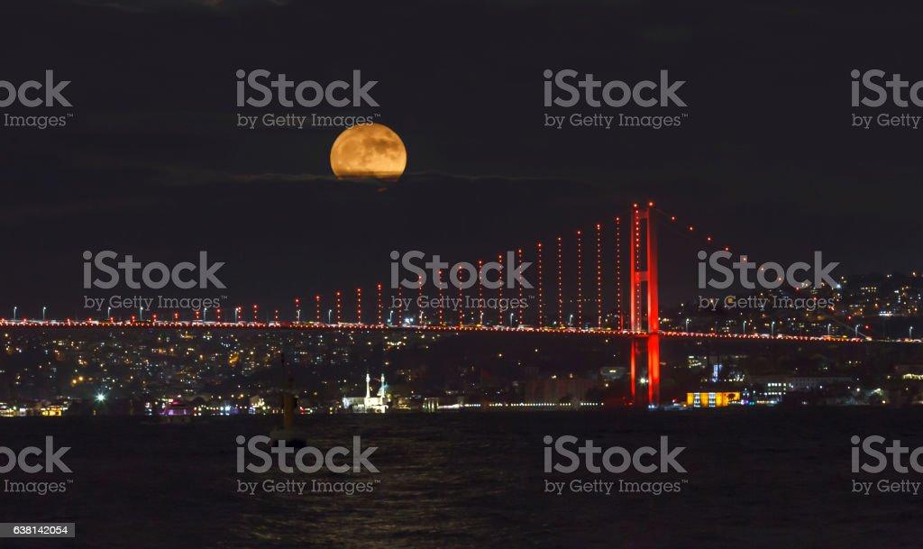 Supermoon over Bopshorous Istanbul stock photo