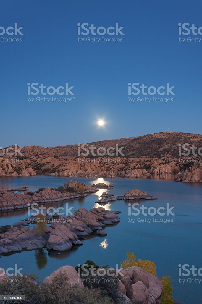 Supermoon Over Watson lake stock photo