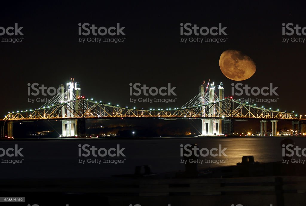 Supermoon Rises Behind the Tappan Zee Bridge Under Construction stock photo