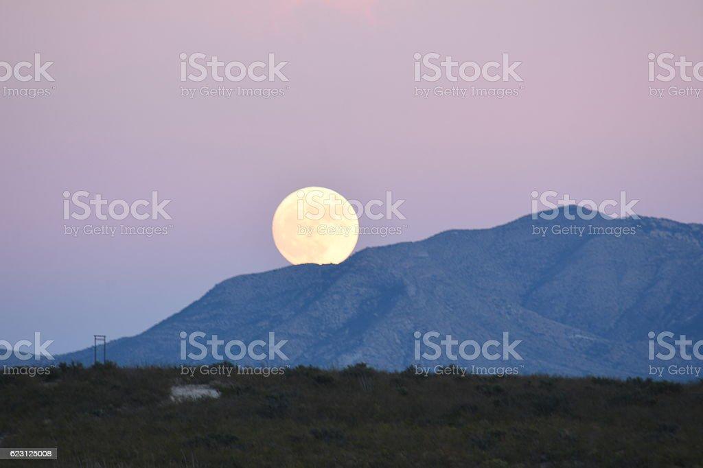 Supermoon Rising Arizona stock photo