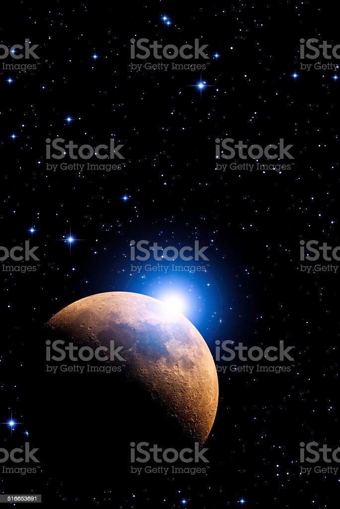 Supernova and Moon stock photo
