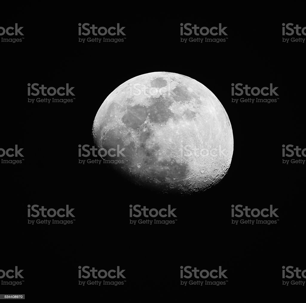 Super-Resolution gibbous moon stock photo