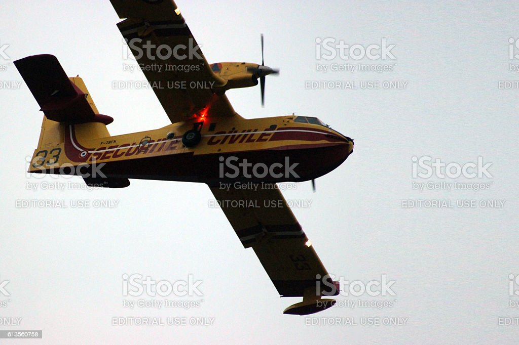 CL-415 Superscooper Close-up Action stock photo