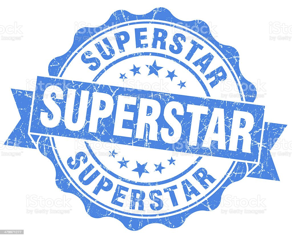 superstar grunge blue stamp royalty-free stock photo