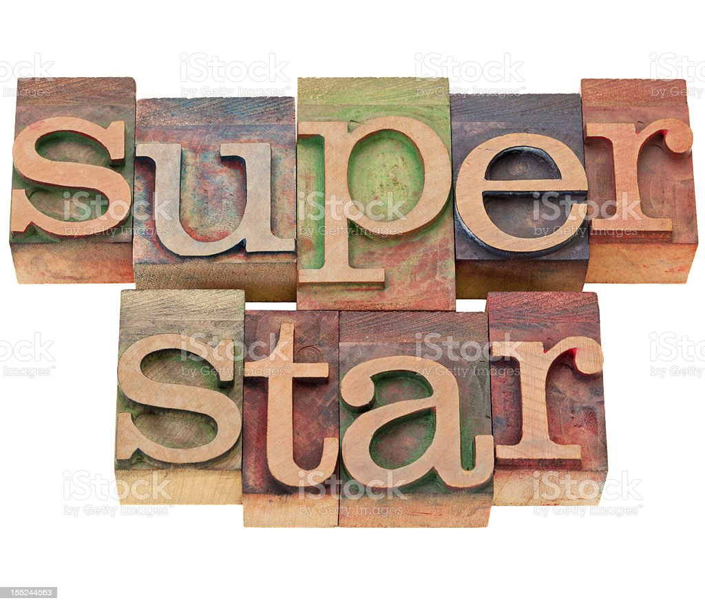 superstar word in letterpress type royalty-free stock photo