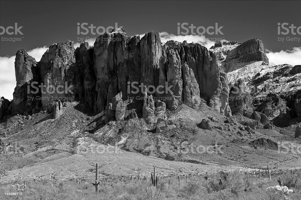 Superstition Mountain in Black and White stock photo