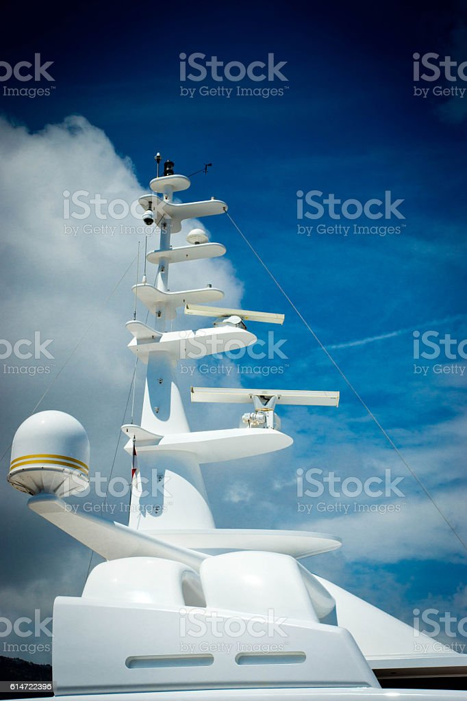 Superstructure on a motor yacht stock photo