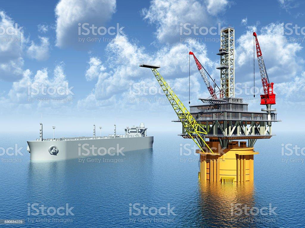 Supertanker and Oil Platform stock photo